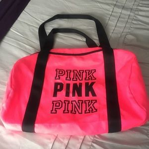 Victoria's Secret Pink neon duffle bag